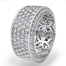 10mm Womens Eternity Pave Diamond Wedding Anniversary Band  Platinum 950 (3.5Ct. tw.)