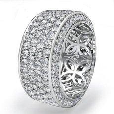 10mm Womens Eternity Diamond Wedding Anniversary Band Ring 14k White Gold 3.5Ct