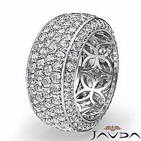 4 Row Round Pave Diamond Eternity Wedding Women 9.7mm Ring 14k White Gold 3.5Ct
