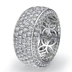 4 Row Round Pave Diamond Eternity Wedding Women 9.7mm Ring 14k White Gold 3.5Ct