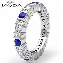 Round Sapphire Bar Set Diamond Eternity Wedding Band 14k WGold Women Ring 1.8Ct
