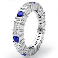 Round Sapphire Bar Set Diamond Eternity Wedding Band 14k WGold Women Ring 1.8Ct