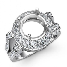 Diamond Engagement Round Ring 14K White Gold Halo Pave Setting Semi Mount 1.1Ct