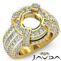 Round Semi Mount Diamond Engagement Halo Pave Setting Ring 14k Gold Yellow (2.9Ct. tw.)