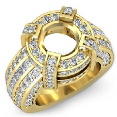 Round Semi Mount Diamond Engagement Halo Pave Setting Ring 18k Gold Yellow (2.9Ct. tw.)