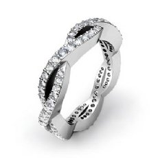 Eternity Wedding Band Women's Ring 14k White Gold Round Shape Pave Diamond 1Ct
