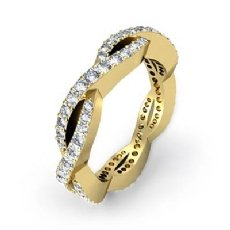 Eternity Wedding Band Women's Ring 14k Gold Yellow Round Shape Pave Diamond  (1Ct. tw.)