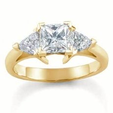 Princess Trillion Diamond Engagement Ring Three 3 Stone Setting  18k Gold Yellow  (1.1Ct. tw.)