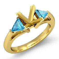Aquamarine Three 3 Stone Diamond Ring Trillion Princess Setting 18k Gold Yellow <Dcarat>