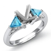 Aquamarine Three 3 Stone Diamond Ring Trillion Princess Setting 14k White Gold 0Ct - javda.com