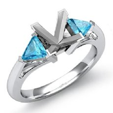 Aquamarine Three 3 Stone Diamond Ring Trillion Princess Setting 14k W Gold 1/2Ct