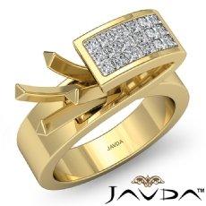 Princess Semi Mount Diamond Engagement Women Anniversary Ring 14k Gold Yellow (0.55Ct. tw.)