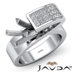 0.55Ct Princess Semi Mount Diamond Engagement Women Anniversary Ring 14k White Gold - javda.com