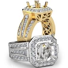Antique & Vintage Engagement Halo Diamond Ring Semi Mount 18k Gold Yellow Setting  (1.65Ct. tw.)