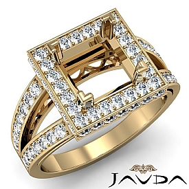 Diamond Engagement Halo Pave Setting Princess Semi Mount ...