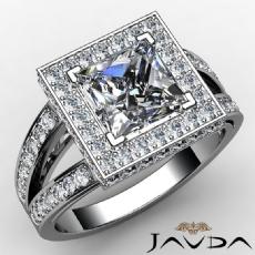 Split Shank Pave Setting Halo Princess diamond engagement Ring in 14k Gold White