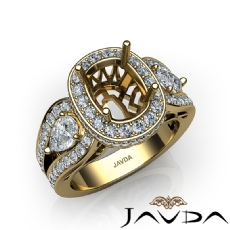Cushion 3 Stone Halo Diamond Engagement Ring 18k Gold Yellow Vintage Semi Mount  (1.85Ct. tw.)