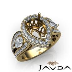 Pear Diamond Antique Engagement Halo 3Stone Ring Setting 18k Gold Yellow Semi-Mount  (1.85Ct. tw.)