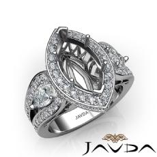 3 Stone Marquise Halo Diamond Engagement Ring 14K White Gold Semi Mount 1.85Ct