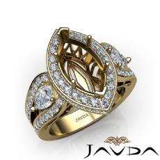 3 Stone Marquise Halo Diamond Engagement  Antique & Vintage Ring 18k Gold Yellow Semi Mount  (1.85Ct. tw.)