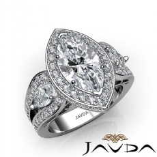 Marquise diamond  Ring in Platinum 950