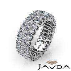 Women Eternity 3Row Band Prong Set Diamond Engagement Ring 14k White Gold 3.69Ct