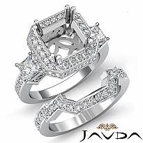 1.56 Ct Diamond Engagement 3 Stone Halo Setting Ring Bridal Sets 14k White Gold