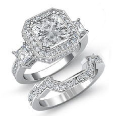 3 Stone Halo Pave Bridal Set Princess diamond engagement Ring in 14k Gold White