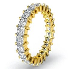 Prong Set Princess Diamond Ring Womens Eternity Wedding Band 18k Gold Yellow  (3Ct. tw.)