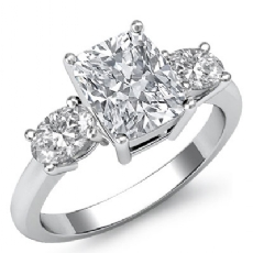 Basket Prong Set Three Stone Cushion diamond engagement Ring in 14k Gold White