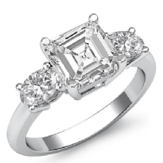 Basket Prong Set Three Stone Asscher diamond engagement Ring in 14k Gold White