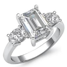 Basket Prong Set Three Stone Emerald diamond engagement Ring in 14k Gold White
