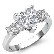 Basket Prong Set Three Stone Heart diamond engagement Ring in 14k Gold White
