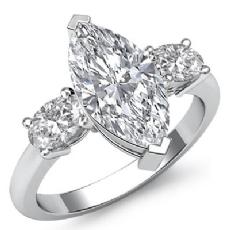 Prong Set 3 Stone Basket diamond Ring 14k Gold White