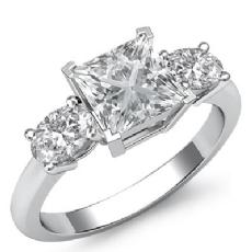 Basket Prong Set Three Stone Princess diamond engagement Ring in 14k Gold White