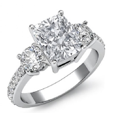 Basket Prong Set 3 Stone Cushion diamond engagement Ring in 14k Gold White