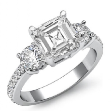 Basket Prong Set 3 Stone Asscher diamond engagement Ring in 14k Gold White