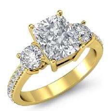 Basket Prong Set 3 Stone Cushion diamond engagement Ring in 14k Gold Yellow