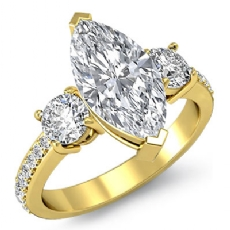 Basket Prong Set 3 Stone Marquise diamond engagement Ring in 14k Gold Yellow