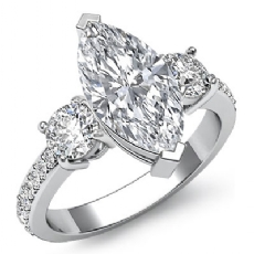 Basket Prong Set 3 Stone Marquise diamond engagement Ring in 14k Gold White