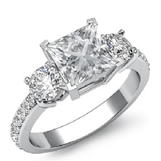 Basket Prong Set 3 Stone Princess diamond engagement Ring in 14k Gold White