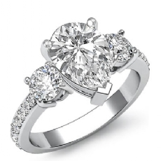 Basket Prong Set 3 Stone Pear diamond engagement Ring in 14k Gold White