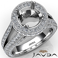 Halo Pave Diamond Engagement Elegant Ring 14K White Gold Round Semi Mount 1.5Ct.