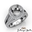 Halo Pave Diamond Engagement Elegant Ring 14k White Gold Round Semi Mount 1.5Ct - javda.com