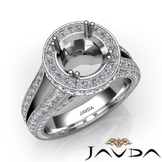 Halo Pave Diamond Engagement Elegant Ring 14K White Gold Round Semi Mount 1.5Ct.