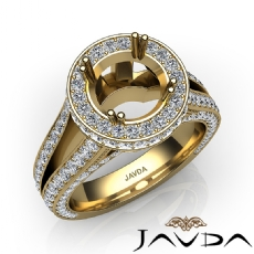 Halo Pave Diamond Engagement Elegant Ring 14k Gold Yellow Round Semi Mount  (1.5Ct. tw.)
