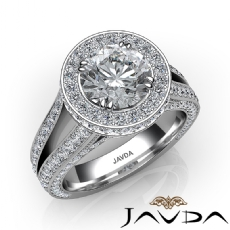Halo Pave Split Shank Bridge Round diamond engagement Ring in 14k Gold White