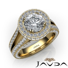 Halo Pave Split Shank Bridge Round diamond engagement Ring in 14k Gold Yellow
