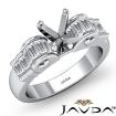 1.2Ct Baguette Semi Mount Diamond Engagement Rings 14k White Gold Invisible Setting - javda.com