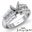 1Ct Baguette Semi Mount Diamond Women Engagement Ring Channel Setting 14k White Gold - javda.com